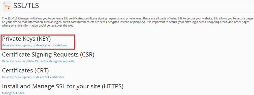 SSL certificate installation step 1